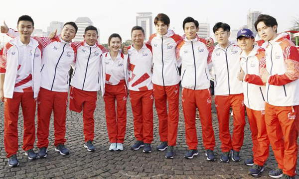 中国明星团传递亚运火炬 杜海涛魏晨等同框出镜
